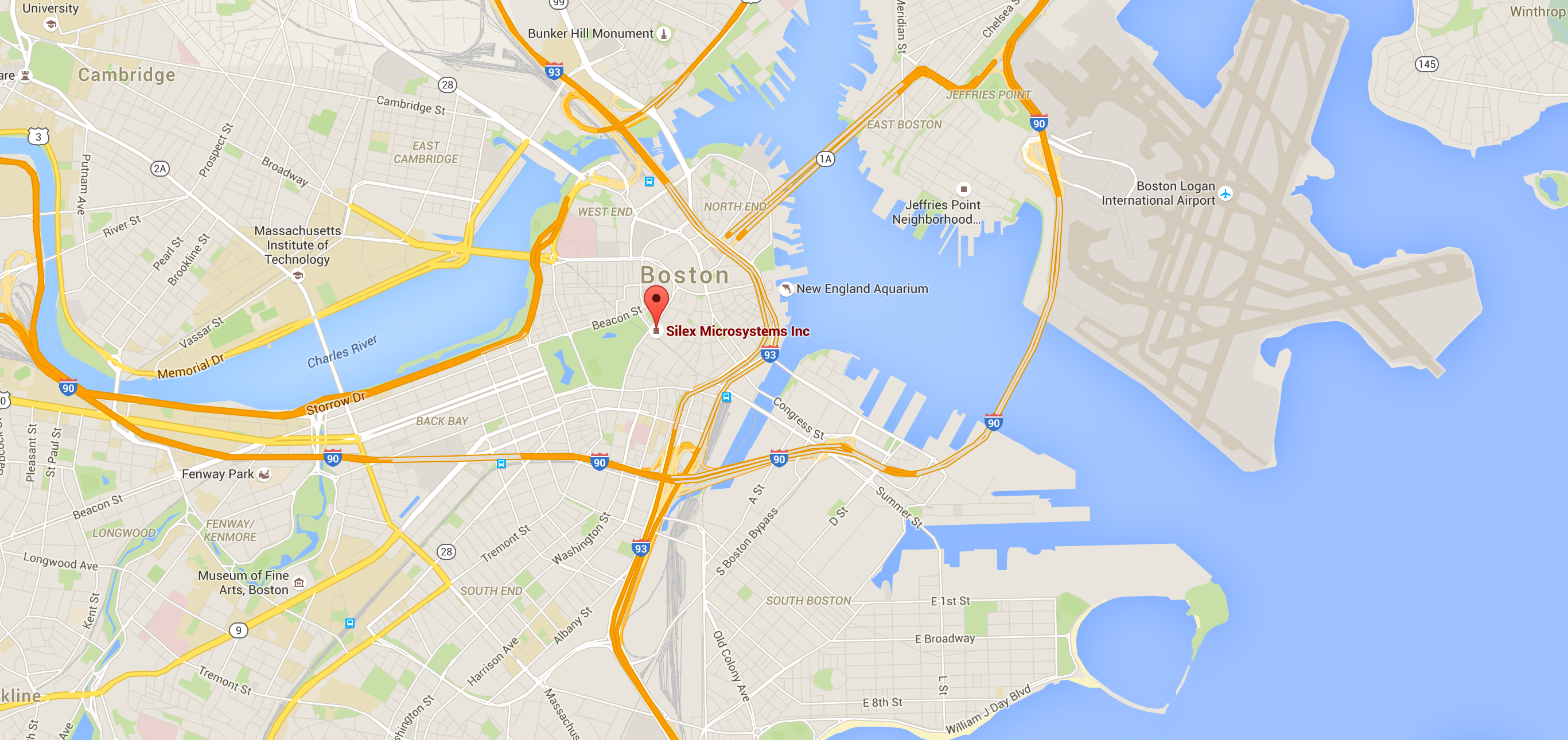 Map on Silex Microsystems AB in Boston, USA