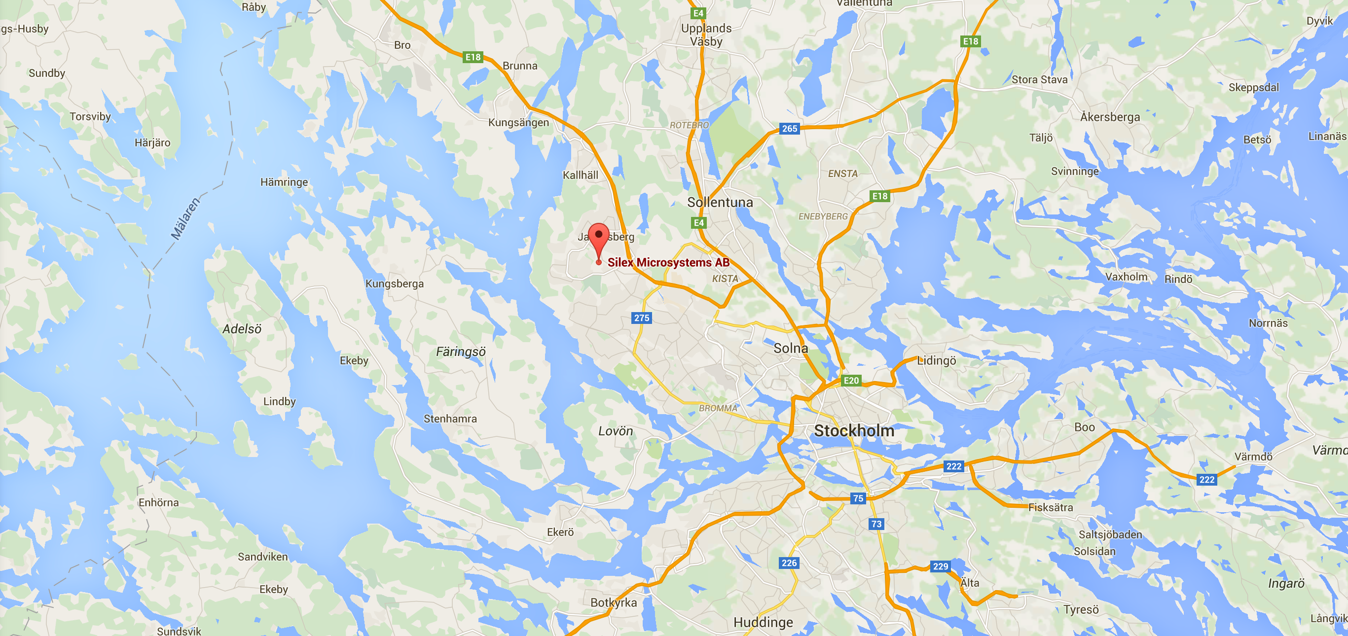Map on Silex Microsystems AB in Sweden